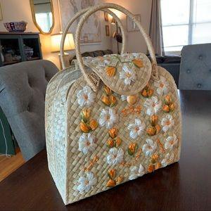 Vintage 50's straw raffia handbag